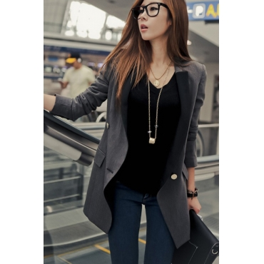 Fashion Splicing V-neck Long Sleeves Grey Suits