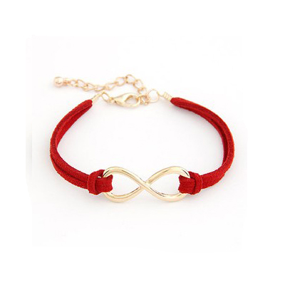 Fashion Red Twisted Metal Embellished Waved Leather Bracelet