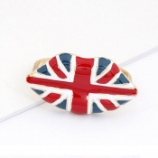 European Personality UK Nation Flag Print Lips Met