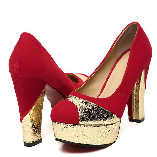 Sexy Party  Round Peep Toe Chunky High Heel Red Suede Pumps