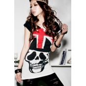 Sexy O Neck UK Nation Flag Skull Print Short Sleev