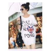 Casual O Neck Letters UK National Flag Print Short