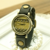 Vintage Exquisite Carved Dial Green Brand Women Wa