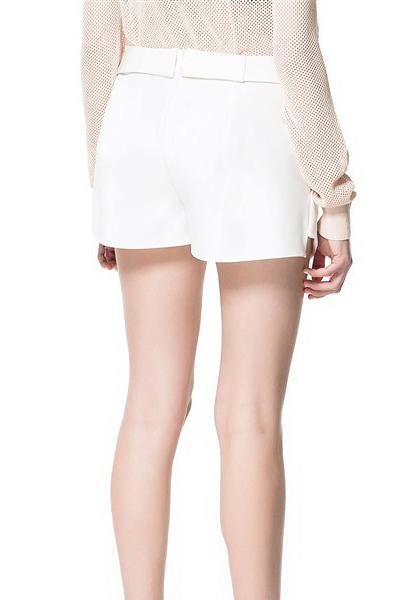 Fashion Drawstring Low Waist Solid White Cotton Shorts
