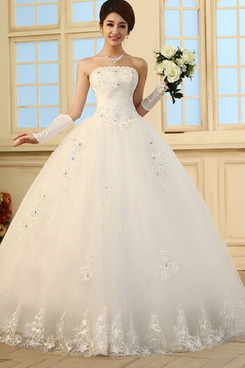 Gorgeous Princess Diamond Embellished Strapless Off The Shoulder ...