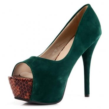 Fashion Round Peep Toe Platform Stiletto High Heels Green Leather Pumps