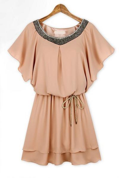 fashion sequin embellished o neck short sleeves pink chiffon