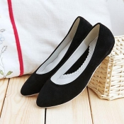 Fashion Round Closed Toe Black Suede Flats