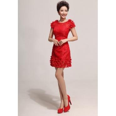 Fashion Cap Sleeve Sleeveless Sheath Mini Ruched Red Lace Bridesmaid Dress