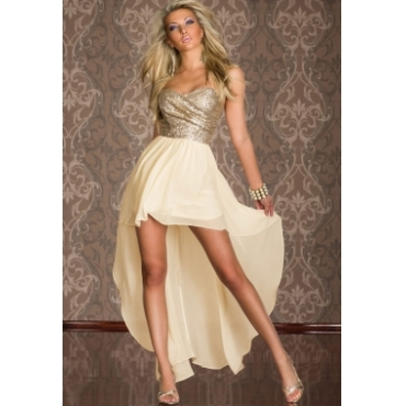 Sexy Charming Off The Shoulder Sleeveless Beige Chiffon Asymmetrical Ankle Length Dress