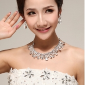 Sweet Water-drop Shaped Crystal Bridal Jewelry Set
