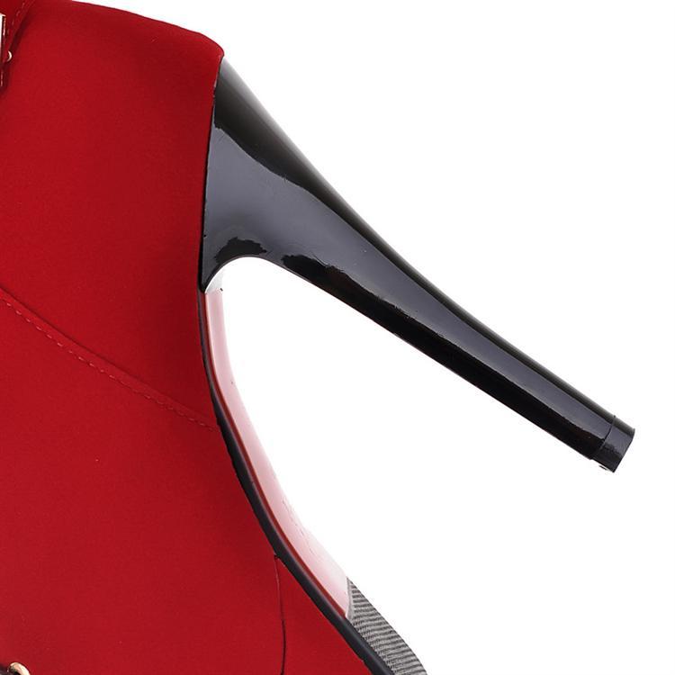 Зимний круглый топа Stiletto Высокий каблук зашнуровать короткие пряжки черные замши Martens сапоги