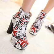 Spring Autumn Round Toe UK Flag Print Lace Up Chun