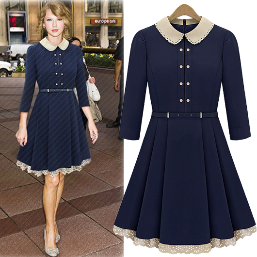 Fashion Turndown Collar Three Quarter Waist Navy Blue Knee Length Dress 183bba167