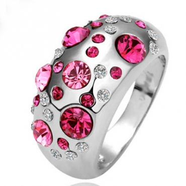 Fashion Rose Red Diamond Embellished Silver Ring