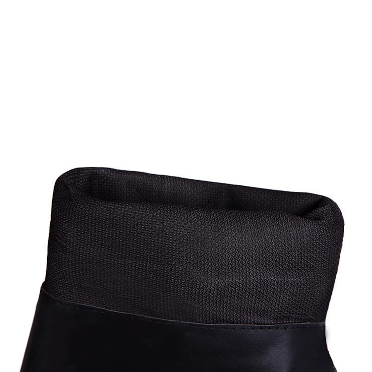 Winter Round Toe Stiletto Mid Heel Zipper Over the Knee Buckle Black Martens Boots