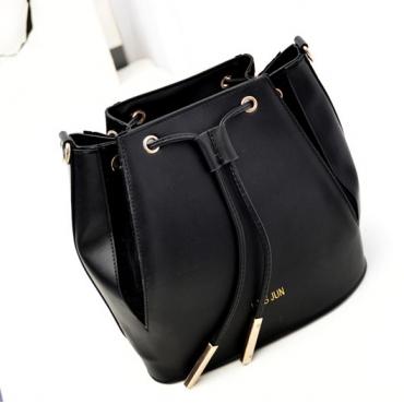 Women Vintage Zipper Black PU houlder Bag