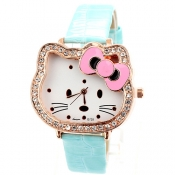 Fashion Sweet Kitty Blue Leather Watch