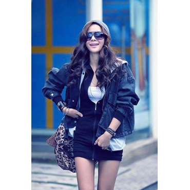 Fashion Hooded Long Sleeve Single Breasted Dark Blue Coat