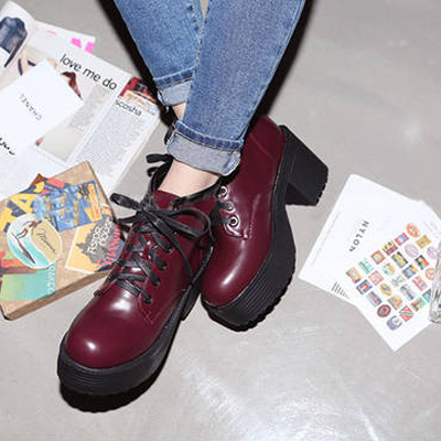 Personality Spring Autumn Round Toe Mid Heel Red Up Ankle Martens Boots