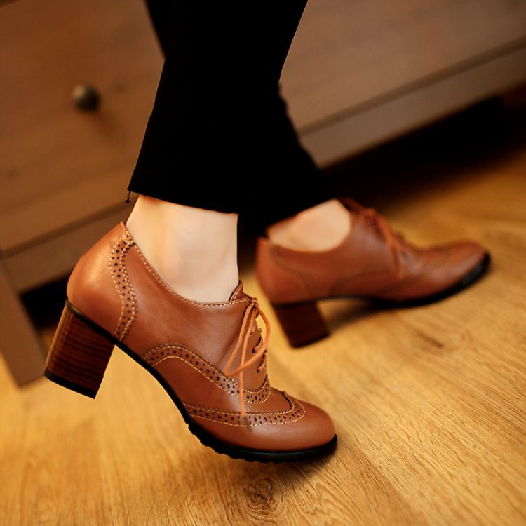 Fashion Round Toe Chunky Mid Heel Lace Up Ankle Brown PU Cavalier ...