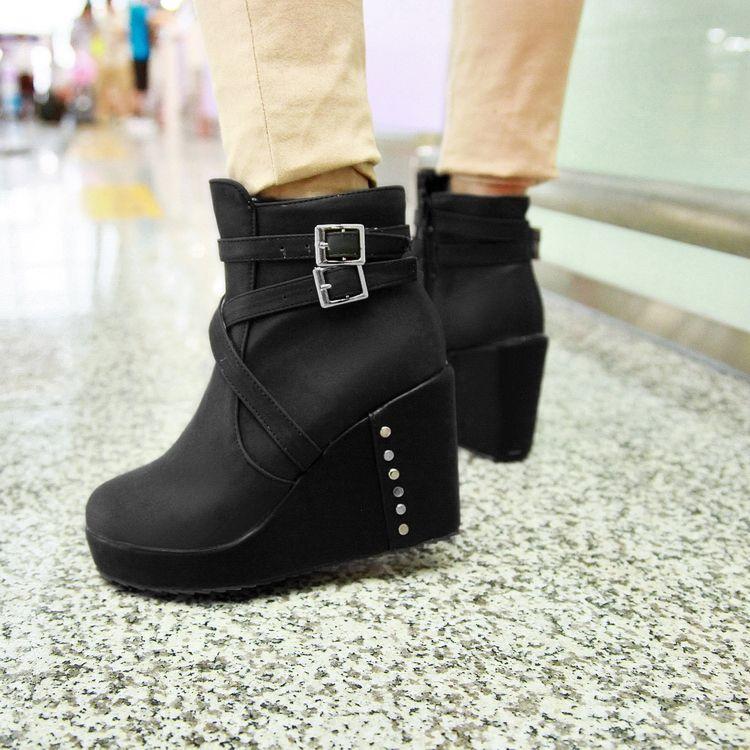 Moda redonda dedo del pie grueso tacón alto cremallera tobillo hebilla negro pu martens botas