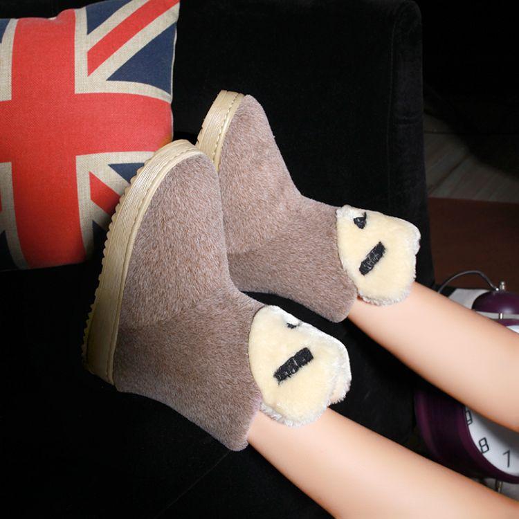 Winter Round Toe Stiletto Mid Heel Slip On Tobillo Brown Suede Snow Boots