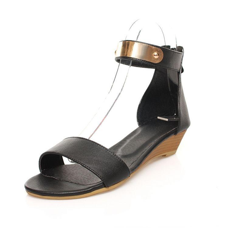 Fashion Flat Low Heel Ankle Strap Black Pu Sandals Sandals