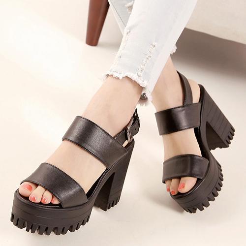 Fashion Chunky High Heel Ankle Strap Black PU Sandals