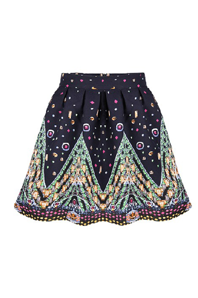 New Style Woman Print Frill A Line Mini Skirts