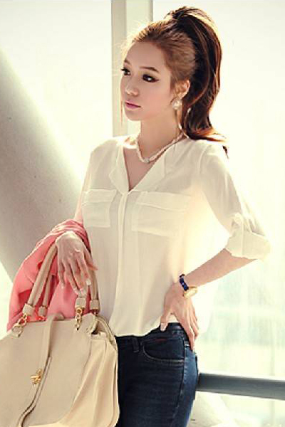 New Style Woman V Neck Half Sleeve Solid White Polyester Blouse