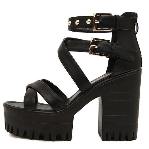 Fashion Chunky High Heel Cross Strap  Black PU Sandals
