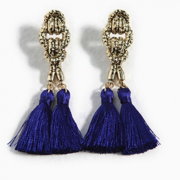 Vintage Tassel Navy Metal Earrings