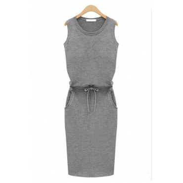 Fashion O Neck Tank Sleeveless Sheath Grey Cotton Mini Dress
