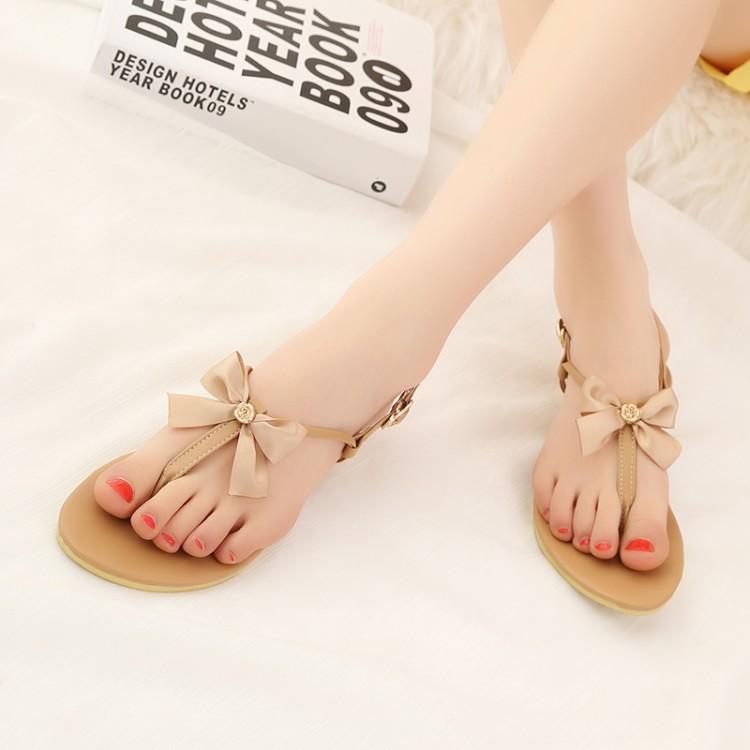 Fashion Flat Low Heel Clip Toe Brown PU Sandals