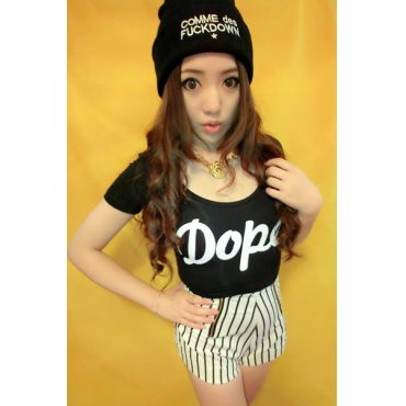 Fashion O Neck Short Sleeve Letter Black Cotton T-Shirt