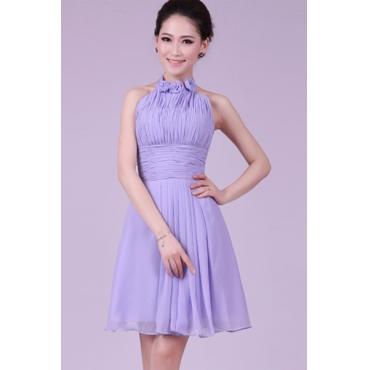 Fashion Strapless Sleeveless Front Flowers Designed Purple Chiffon A Line Bridesmaid Dress