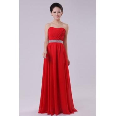 Fashion Strapless Off The Shoulder Sleeveless Red Chiffon Floor Length Bridesmaid Dress