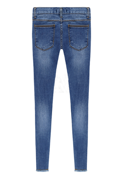 Fashion Mid-waist Solid Button Fly Designed Green Skinny Jean Pants
