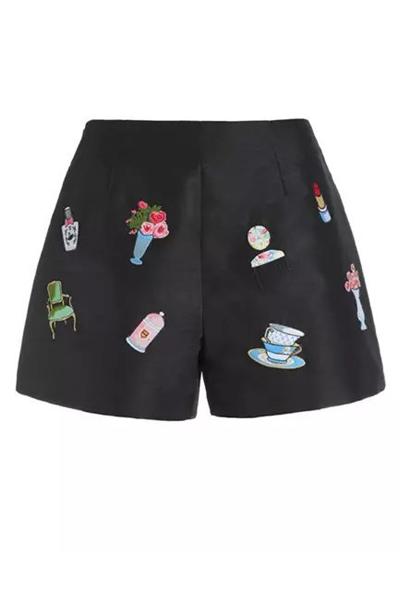 Fashion Mid-waist Cartoon Patterns Embroidered Black Cotton Blend Shorts