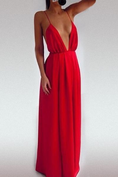 Short Spaghetti Strap Backless Dress