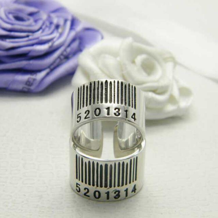 Fashion Arabic Numerals Plated Silver Metal Ring