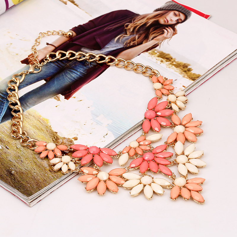 Fashion Flowers Layered Pink Metal Necklace