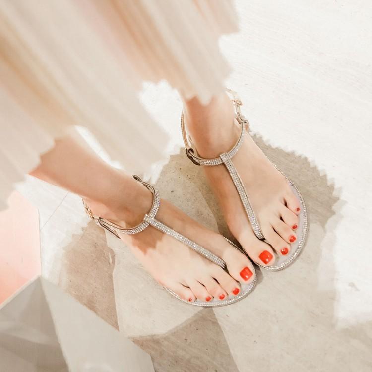 Casual Rhinestones Embellished Flat Low Heel Gold PU T Strap Sandals