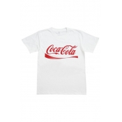 Free Style O Neck Short Sleeves Red Letters Printe