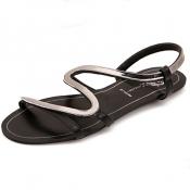 Casual Peep Toe Winded Strap Design Flat Low Heel