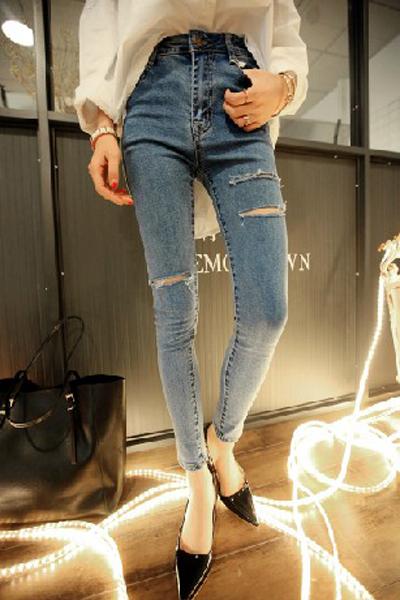 Casual High Waist Zipper Fly Broken Holes Designed Solid Blue Cotton Blends Skinny Pants
