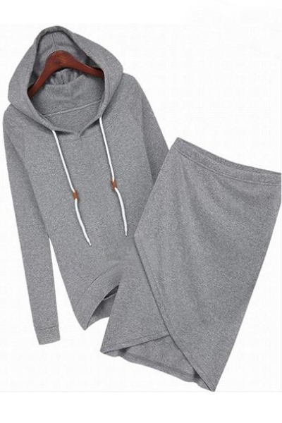Cheap Casual European Style Long Sleeves Grey Regular Hooded Pullover+Asymmetrical Mini Sirt