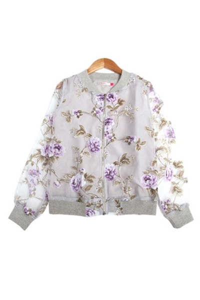 Cheap New Style O Neck Long Sleeves Zipper Designed Apricot Floral Print Short Coat