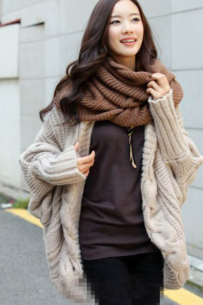 Cheap New Style Long Bat Sleeves Beige Regular Knitting Cardigan ...